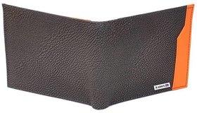 Radon Men's Casual Black+Orange PU Wallet 12+ Card Slot