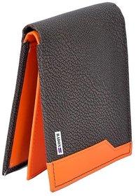 Radon Men's Casual Black+Orange PU Wallet 12+ Cards Slot