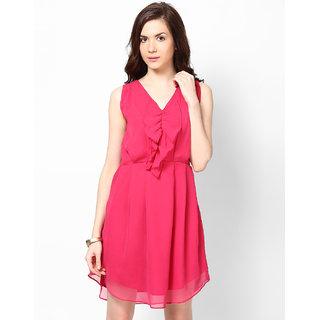 Fabrange Pink Ruffled Skater Dress For Women