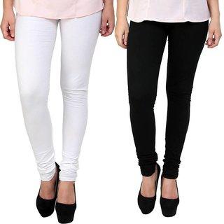 Saundarya Women's Churidar Comfortable Lycra Cotton Leggings Combo ( Pack of 2 Black and White) - Free Size