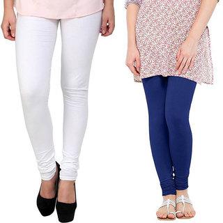 Saundarya Women's Churidar Comfortable Lycra Cotton Leggings Combo ( Pack of 2 White and Blue) - Free Size