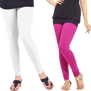 Saundarya Women's Churidar Comfortable Lycra Cotton Leggings Combo ( Pack of 2 White and Pink) - Free Size