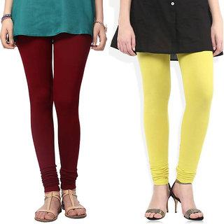 Saundarya Women's Churidar Comfortable Lycra Cotton Leggings Combo ( Pack of 2 Yellow and Maroon) - Free Size