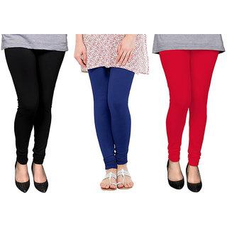 Saundarya Women's Churidar Comfortable Lycra Cotton Leggings Combo ( Pack of 3 Black, Blue and red ) - Free Size
