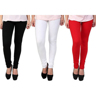 Saundarya Women's Churidar Comfortable Lycra Cotton Leggings Combo ( Pack of 3 Black, White and red ) - Free Size