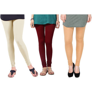 Saundarya Women's Churidar Comfortable Lycra Cotton Leggings Combo ( Pack of 3 Cream, Maroon and Dark skin ) - Free Size