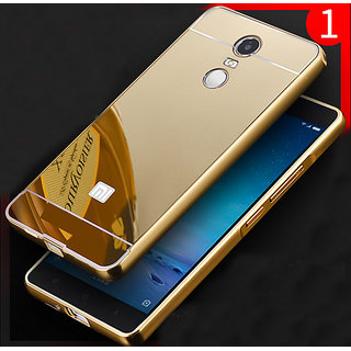 LUXURY METAL FRAME BUMPER+MIRROR BACK GOLD CASE COVER FOR REDMI NOTE 4