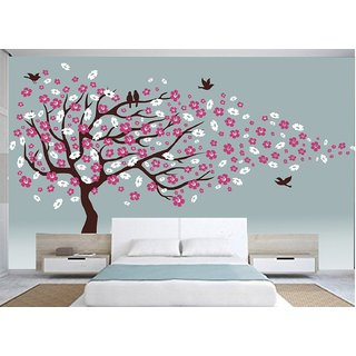 Asmi Collections Wall Stickers Beautiful Large Cherry Blossom Tree Flowers Birds (12.6 Feet  7.8 Feet)
