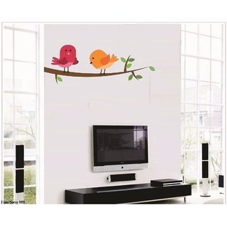 Asmi Collections PVC Wall Stickers Beautiful Birds on Tree Branches