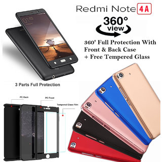 High Quality 360 Full Protective Case and Glass For Redmi 4A