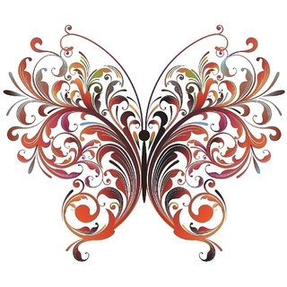 Asmi Collections PVC Wall Stickers Beautiful Floral Big Butterfly-AN034