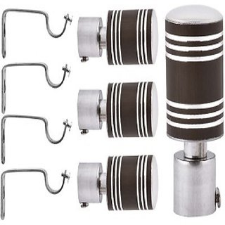 Interio Decor chrome finished metal Curtain Bracket Set Of 4 with support (Elegant look with strong material)