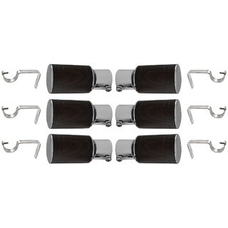 Interio Decor chrome finished metal Curtain Bracket Set Of 6 with support (Elegant look with strong material)