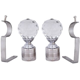Interio Decor chrome finished metal Curtain Bracket Set Of 2 with support (Elegant look with strong material)