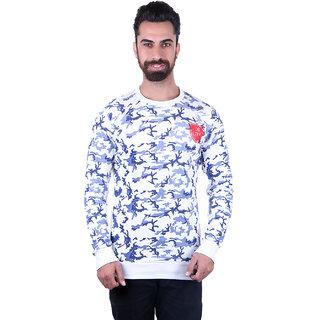 Urban Fashion Men's White & Blue Printed Round Neck T-Shirt
