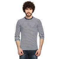 Stylogue White Blue Stripes Full Sleeves Tshirts