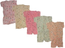 New Born Baby  Top  Bottom set (With sleeves) -Pack of 5 Sets