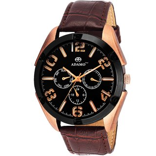 Adamo Brown Synthetic Round Analog Watch for Men