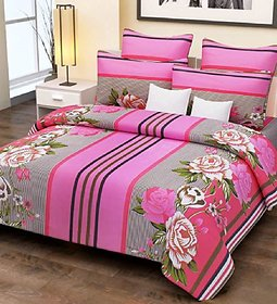 100 Cotton Pink Stripes and Flowers Double Bed Sheet with 2 Pillow Covers