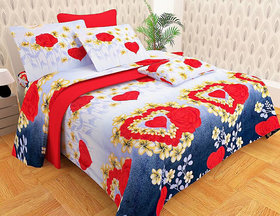 Angel Home Premium Quality 3D Fleece Double Bedsheet Set Velentine Flower