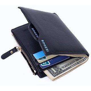 Bogesi Men Casual Blue Genuine Leather Wallet