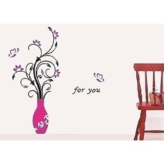 Asmi Collections Pvc Wall Stickers Beautiful Pink Vase and Flowers Butterflies - AN036-1