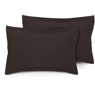 Cotton  Sateen Black Pillow Cover / Case Set (2 Pcs) 300 Thread Count