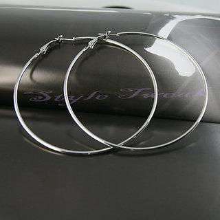 Large Metal Hoop Earrings - Silver