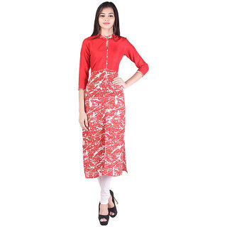 O.J.A. TRADERS Red Printed Cotton Stitched Kurti