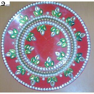 Decorative Pooja Thali based on Melamine (Red) Diwali/Gifting/Pooja (Zart4)  sc 1 st  Shopclues & Shop Decorative Pooja Thali with Kundan Stone work based on Melamine ...