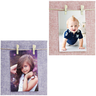 Buy Story At Home Jute Fabric Cover Dual Clip Wooden Photo Frame Set Of