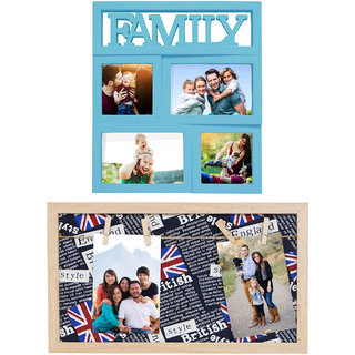 """Story@Home Home Plastic Collage photo Frame (12""""x 11"""", Blue) & Vintage British Print Background Wooden (8""""x 14"""") Frame Sets Pack of 2"""