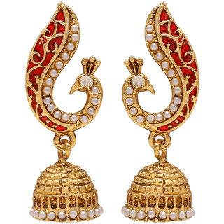 Memoir Brass Peacock Red Meena Pearl Dangle and Drop Jhumki for Women