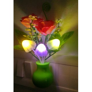 Mushroom Led Lamp With Green Pot Pink Rose  Energy Saving  Multi Color Sensor For Bedroom  Room Decoration