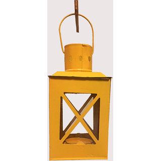 b7d5392bdedbf Anasa Metal Decorative Hut Lanterns Tealight candle Holder Yellow 8.5 Inch