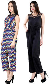 Westrobe Wome Black Plain And Zig Zag Printed Jumpsuits Combo