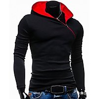 Red Brick Men's Black  Red Hooded T-Shirt