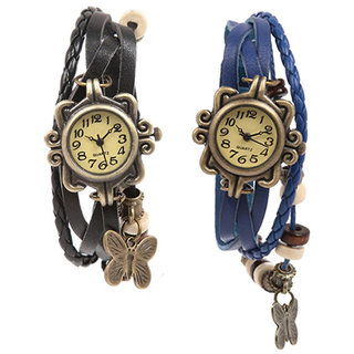 Pack Of 2 White  Black Round Dial Vintage Leather Bracelet Butterfly Leather Watch - Pa