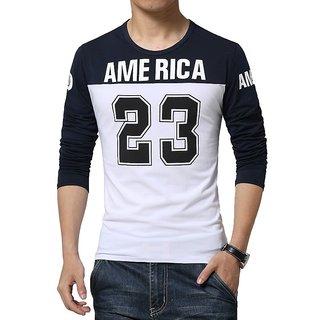 Red Brick Men's Navy  White Slim T-Shirt