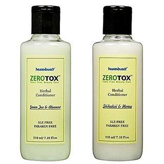 Healthbuddy Zerotox Herbal Conditioner Shikakai Honey 210 ml + Green Tea Aloevera 210 ml