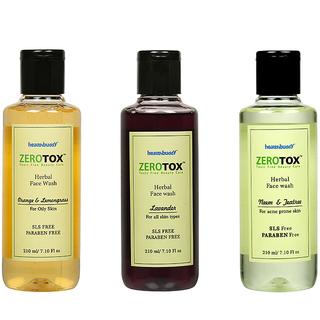 Healthbuddy Zerotox Face Wash Orange  Lemongrass + Lavender + Neem  Teatree (3 pcs of 210 ml Each)
