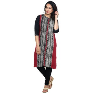 Aayori Casual Block Print Women's Kurti  (Black, Multicolor)
