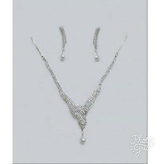Jevelen american diamond necklace set for girl's