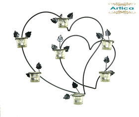 Artica Iron Wall Hanging Double Heart Candle holder Votive Sconce for Home Wall Decorations, Weddings, Events