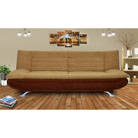 Elite Adorn Homez 3 Seater Sofa Bed Fabric-Brown  Fawn