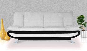 Elite Adorn Homez 3 Seater Sofa Bed Fabric-Leather-Black  White
