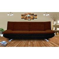 Elite Adorn Homez 3 Seater Sofa Bed Fabric-Black  Brown