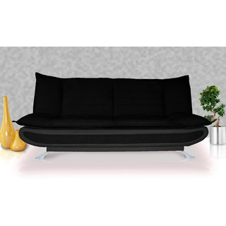 Elite Adorn Homez 3 Seater Sofa Bed Fabric-Leather-Black