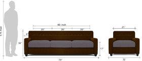 Adorn Homez Solitaire Fabric 1 Seater Sofa set-Black