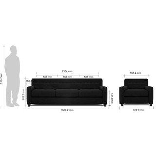 Adorn Homez Solitaire Fabric 3+1 Seater Sofa set-Black